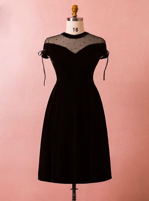 Plus Size Black Velvet Cap Sleeve High Neck Short Prom Dress