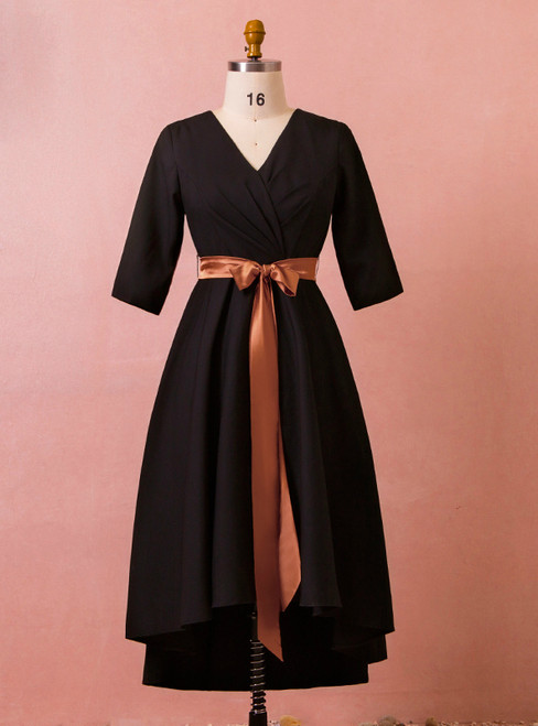 Plus Size Hi Lo Black V-neck Short Sleeve With Bow Prom Dress