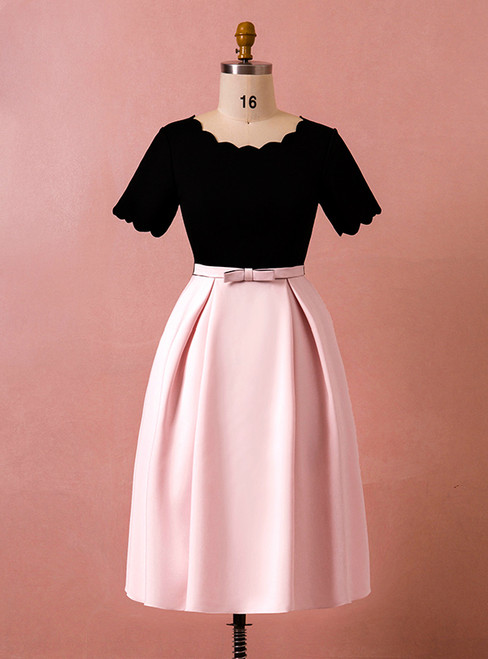 Plus Size Pink Black Satin Short Sleeve With Bow Short Prom Dress