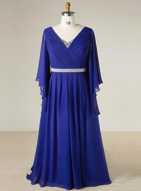 Plus Size Blue V-neck Chiffon Floor Length With Beading Prom Dress