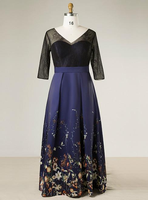 Plus Size Blue V-neck Print Satin Lace Short Sleeve Prom Dress