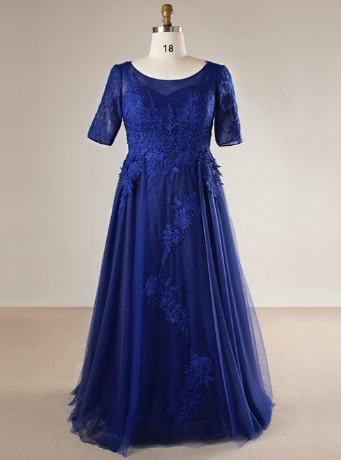 Plus Size Blue Tulle Appliques Short Sleeve Long Prom Dress