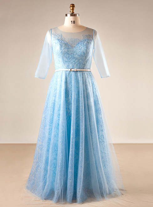 Plus Size Blue Tulle Print Short Sleeve Backless Prom Dress