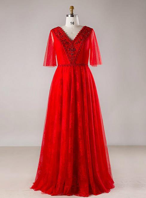 Plus Size Red Tulle V-neck Backless Floor Length Prom Dress