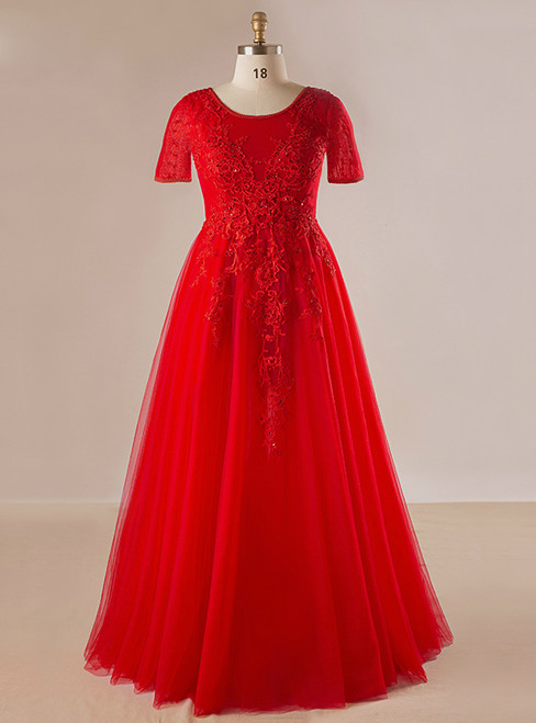 Plus Size Red Tulle Appliques Beading Short Sleeve Prom Dress
