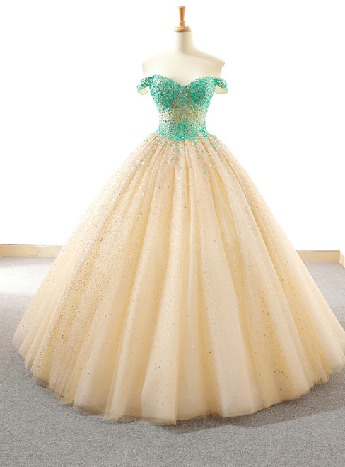 Ball Gown Champagne Tulle Sequins Off The Shoulder Wedding Dress