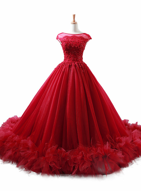 Ball Gown Burgundy Tulle Appliques Backless Wedding Dress