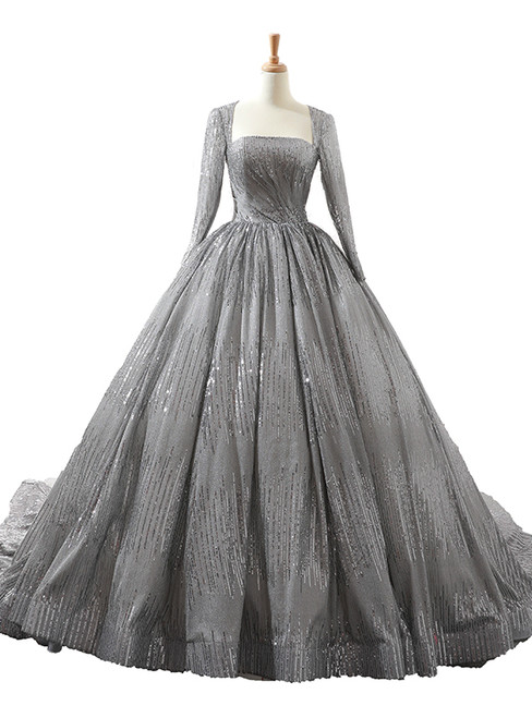 Gray Ball Gown Sequins Long Sleeve Backless Wedding Dress