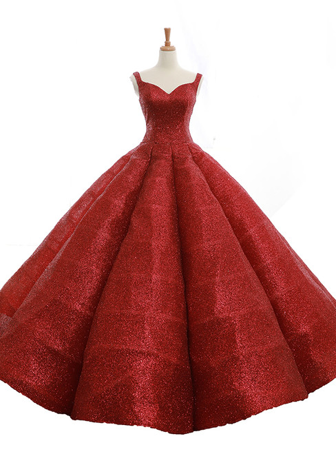 Burgundy Ball Gown Sequins Straps Backless Wedding Dress