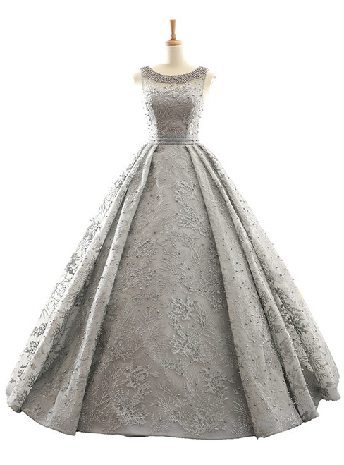 Gray Ball Gown Backless Appliques Pearls Floor Length Wedding Dress