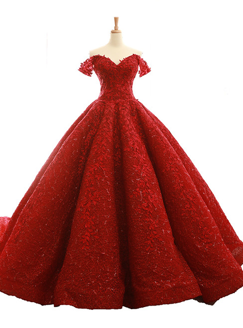 Burgundy Ball Gown Off The Shoulder Appliques Wedding Dress
