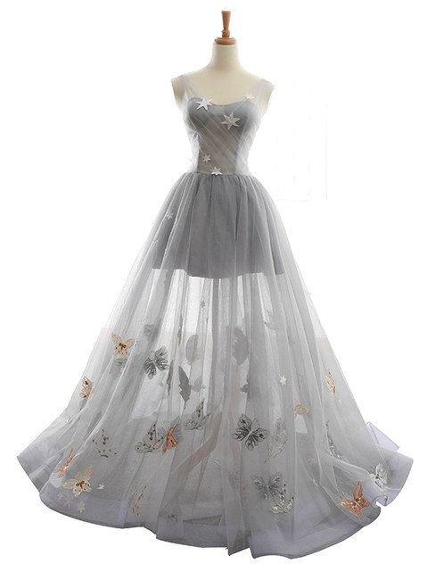 Gray V-neck Tulle Backless Butterfly Floor Length Wedding Dress