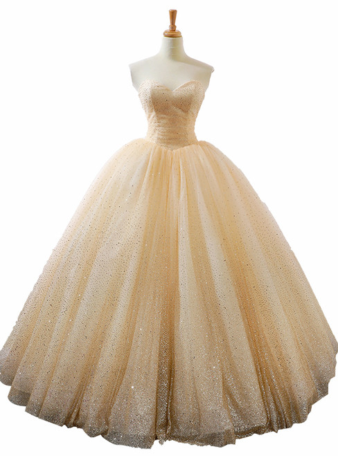 Champagne Ball Gown Sweetheart Neck Sequins Wedding Dress