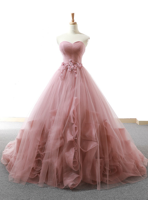 Pink Ball Gown Sweetheart Neck Tulle Appliques Wedding Dress
