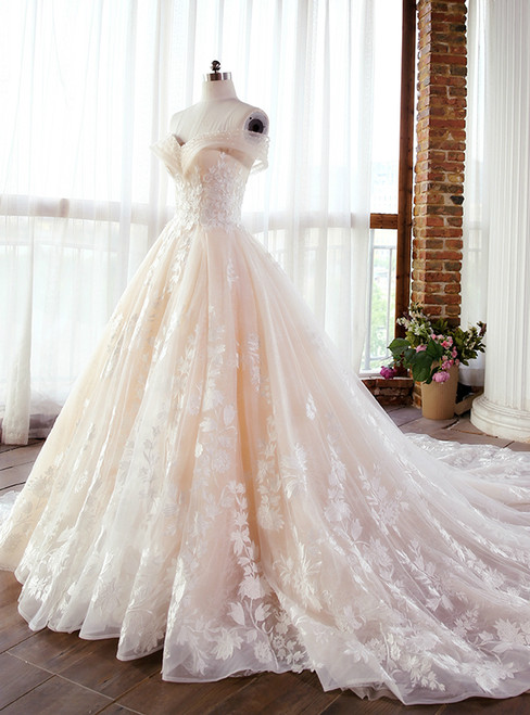 Champagne Ball Gown Off The Shoulder Appliques Wedding Dress