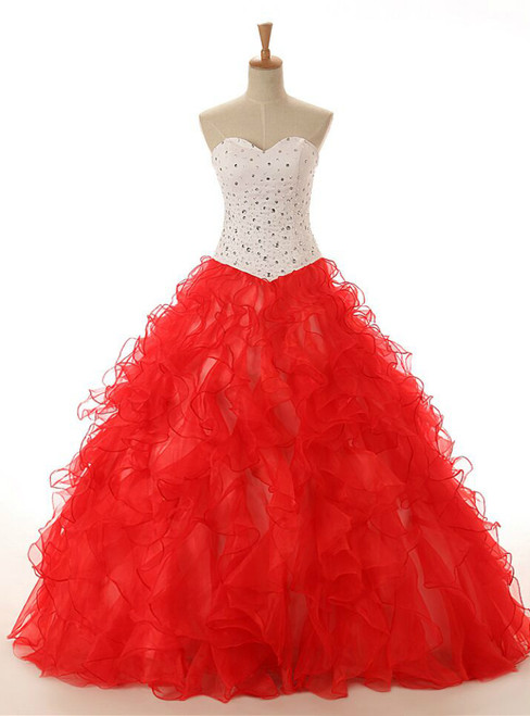 Red Ball Gown Sweetheart Neck Organza Beading Wedding Dress