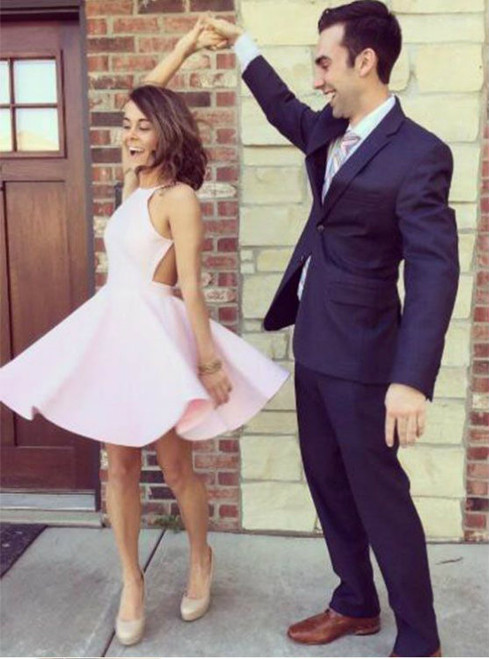 pink simple elegant tight Backless homecoming dresses