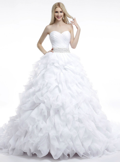 White Ball Gown Sweetheart Ruffle With Beading Wedding Dress