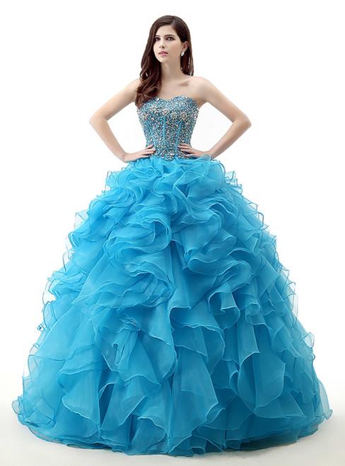 Blue Ball Gown Organza Sweetheart Beading Wedding Dress