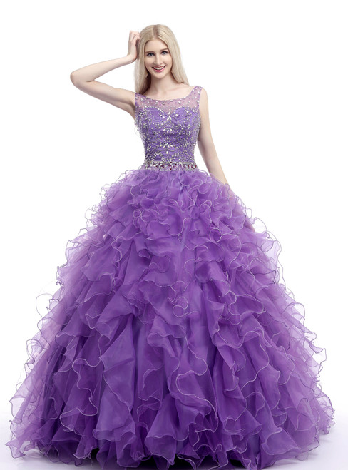 Purple Organza Ruffle Backless Floor Length Beading Wedding Dress
