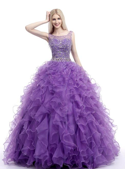Purple Organza Ruffle Backless Floor Length Beading Wedding Dress