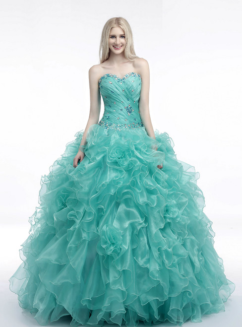 Green Ball Gown Sweetheart Neck Organza Ruffle Pleats Wedding Dress