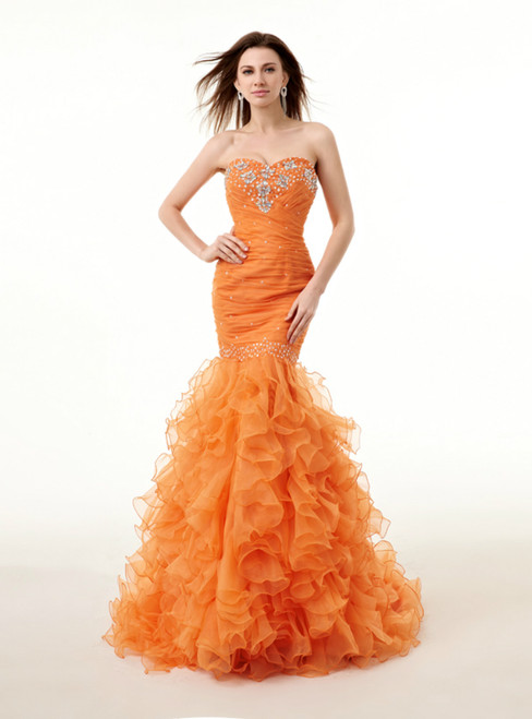 Mermaid Orange Sweetheart Organza Ruffle Backless Beading Prom Dress