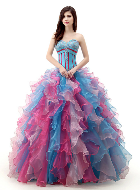 Ball Gown Colorful Sweetheart Organza With Beading Wedding Dress