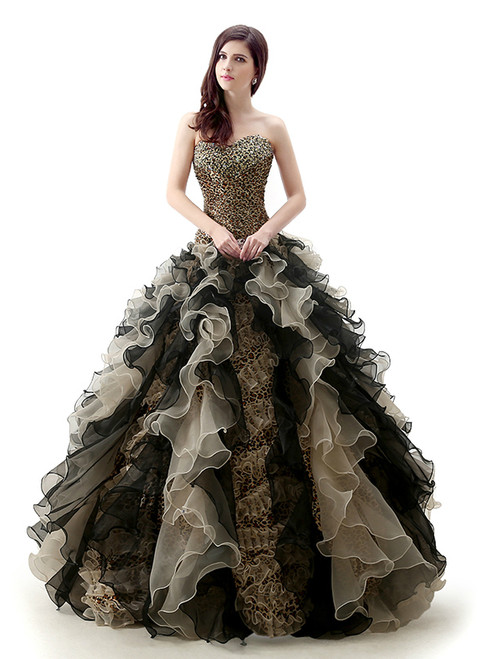Leopard Ball Gown Sweetheart Neck Organza Quinceanera Dresses