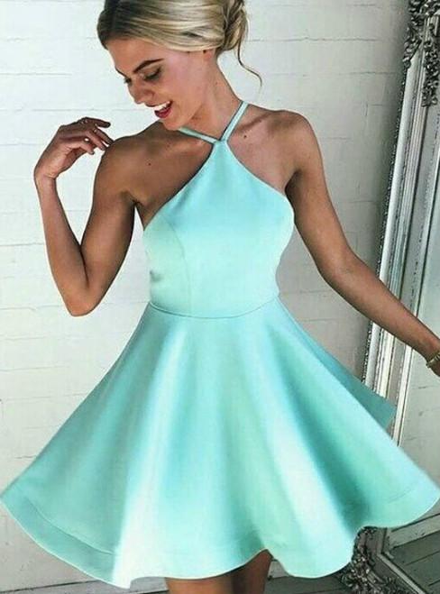Mint Green Backless Homecoming Dress Mini Short Prom Dresses