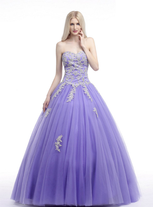 Purple Ball Gown Sweetheart Neck Appliques Quinceanera Dresses