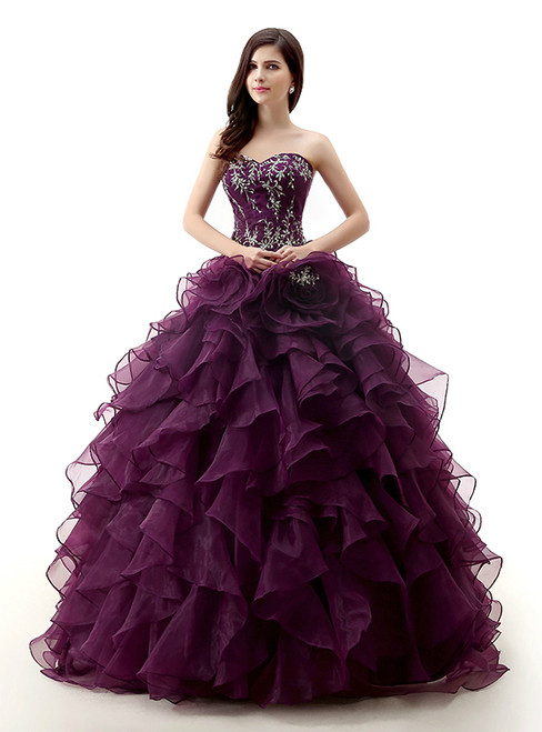 Purple Ball Gown Sweetheart Organza Sequins Quinceanera Dresses