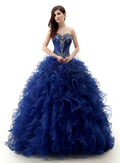 Blue Ball Gown Organza Ruffle With Beading Quinceanera Dresses