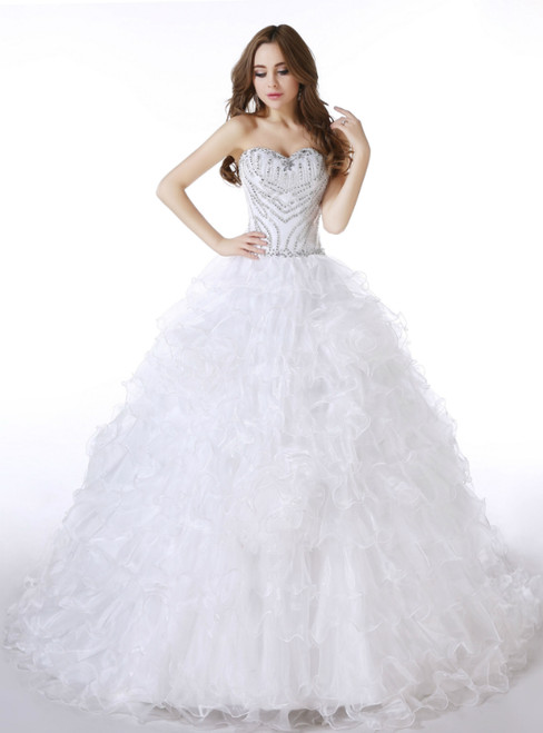 White Ball Gown Sweetheart Organza With Beading Wedding Dress
