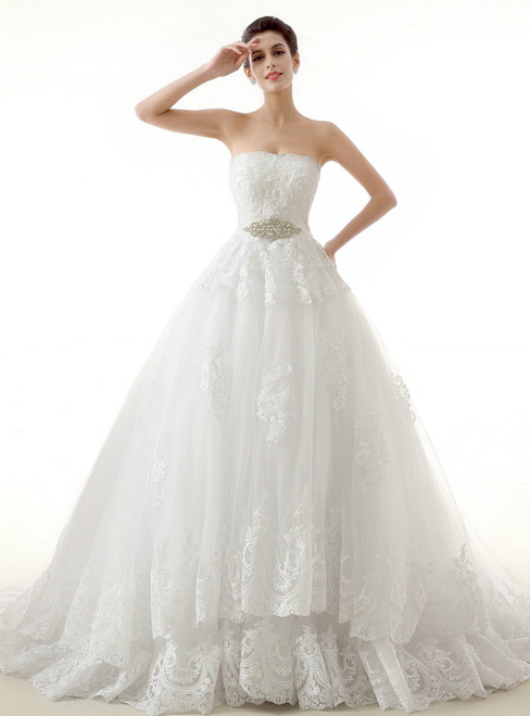 White Ball Gown Tulle Lace Strapless With Sash Wedding Dress