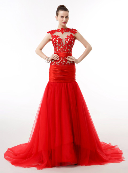 Red Mermaid Tulle Lace Cap Sleeve Backless Prom Dress