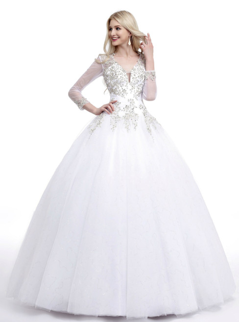 White Tulle Applique Deep V-neck Backless Long Sleeve Wedding Dress