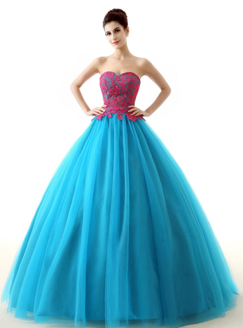 Blue Tulle Red Appliques Sweetheart neck Floor Length Quinceanera Dresses