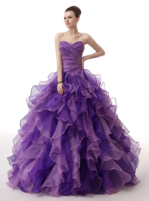 Purple Sweetheart Neck Organza Ruffle Pleats Quinceanera Dresses