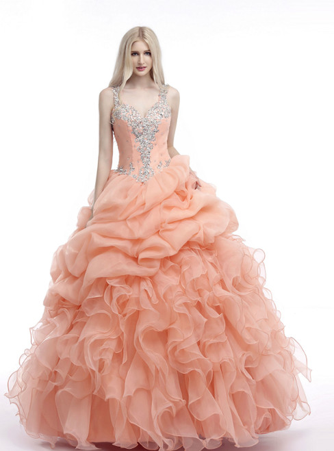 Orange Ball Gown Straps V-neck With Beading Quinceanera Dresses