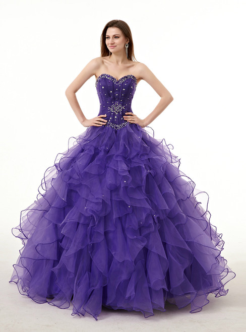 Purple Sweetheart Neck Organza With Beading Quinceanera Dresses