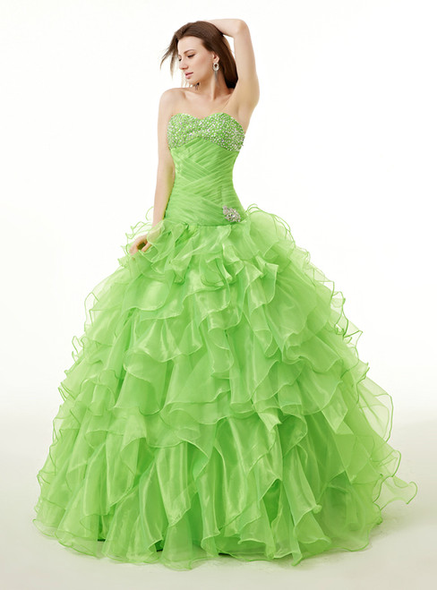 Green Organza Sweetheart Neck With Beading Quinceanera Dresses