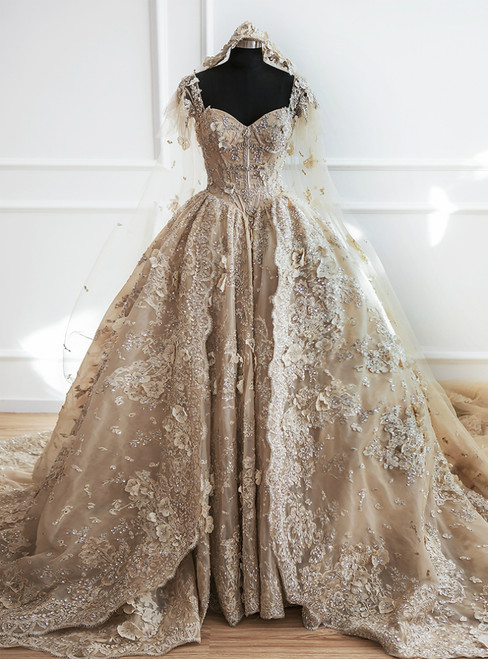 Luxury Champagne Ball Gown Off The Shoulder Appliques Haute Couture Wedding Dresses