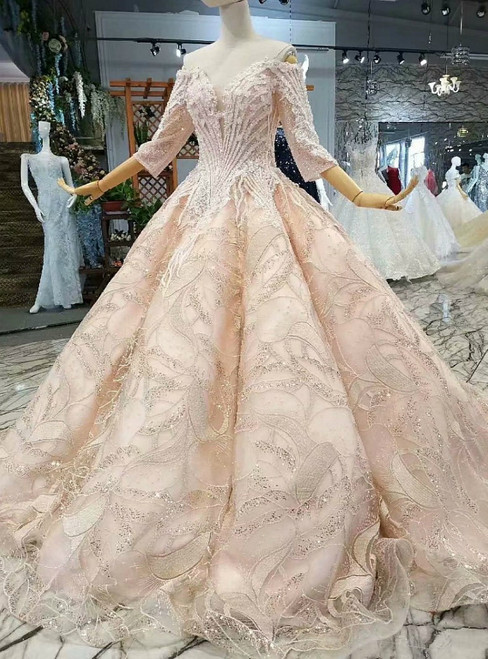 Champagne Ball Gown Short Sleeve Off The Shoulder Wedding Dress
