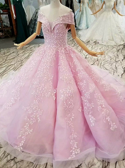 Purple Ball Gown Off The Shoulder Backless Appliques Wedding Dress