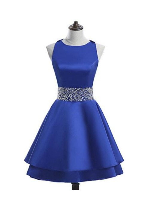 Short Satin Backless Sweet 16 Homecoming Dress Cocktail Party Dress