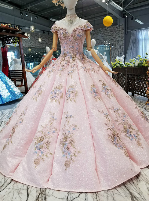 Pink Ball Gown Off The Shoulder Appliques Pearls Wedding Dress