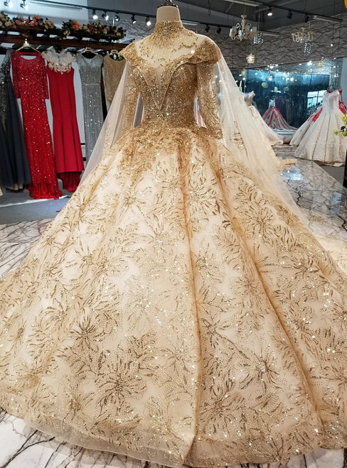 Champagne Ball Gown Long Sleeve Sequins Appliques Wedding Dress