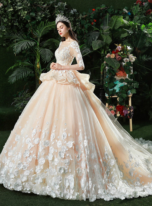 Champagne Ball Gown Tulle Appliques Long Sleeve Backless Wedding Dress