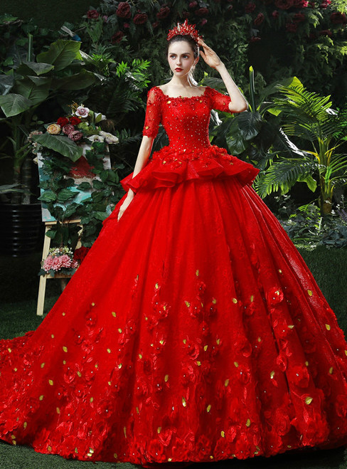Red Ball Gown Tulle Appliques Short Sleeve Hand Made Flower Wedding Dress